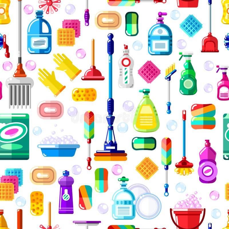 Чистка оборудует безшовную картину вектора Чистка дома и обслуживание домашнего хозяйства Дизайн печати или пакета современный пл иллюстрация вектора