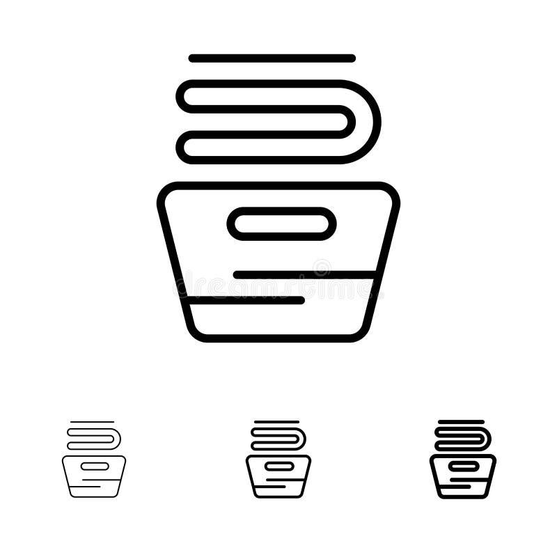 Чистка, одежды, домоустройство, моющ смелую и тонкую черную линию набор значка бесплатная иллюстрация