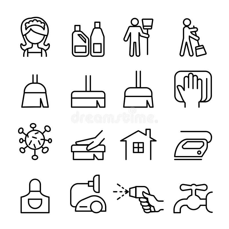 Чистка, домоустройство, комплект значка гигиены бесплатная иллюстрация