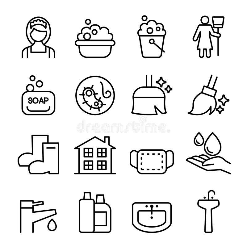 Чистка, домоустройство, wipe, комплект значка стирки бесплатная иллюстрация