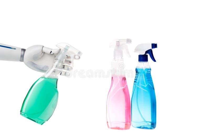 чистка робота с бутылкой брызга стоковые фото
