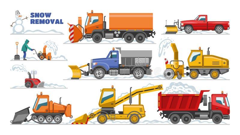 Чистка трактора оборудования снегоочистителя машины зимы вектора удаления снега извлекая набор иллюстрации снега тележки иллюстрация штока