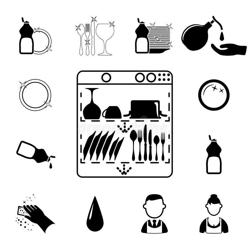 Чистка установленная значками бесплатная иллюстрация