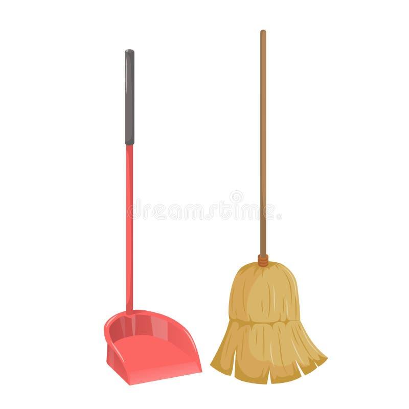Чистки градиента шаржа объекты простой установленные Естественный dustpan веника и пластмассы с большой ручкой Вектор уборки иллюстрация вектора