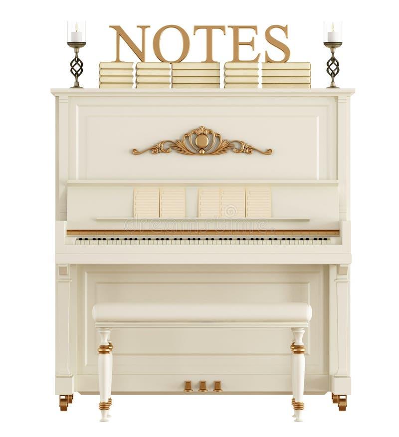 Чистосердечный рояль изолированный на белизне иллюстрация штока