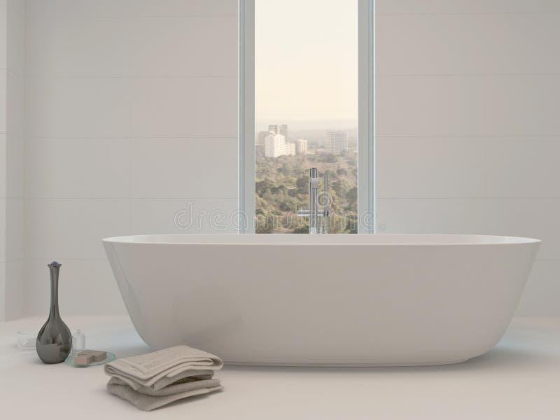 Чисто чистый белый интерьер ванной комнаты с ванной иллюстрация вектора
