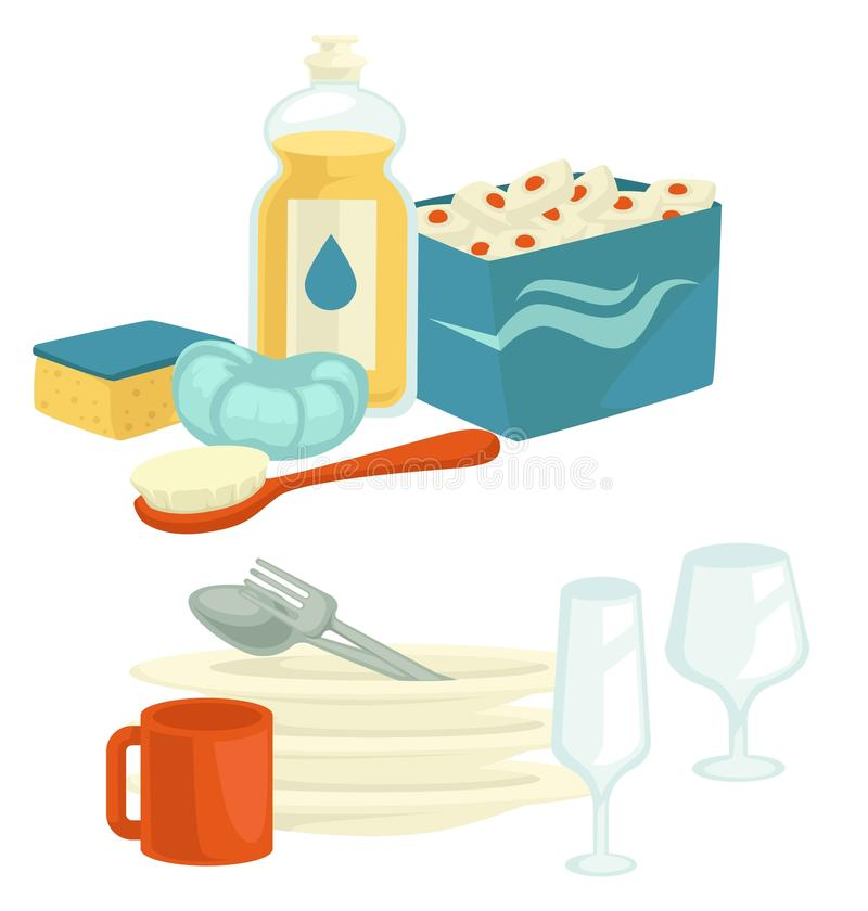 Чистые блюда и очищая инструменты с детержентным домашним хозяйством dishwashing иллюстрация вектора