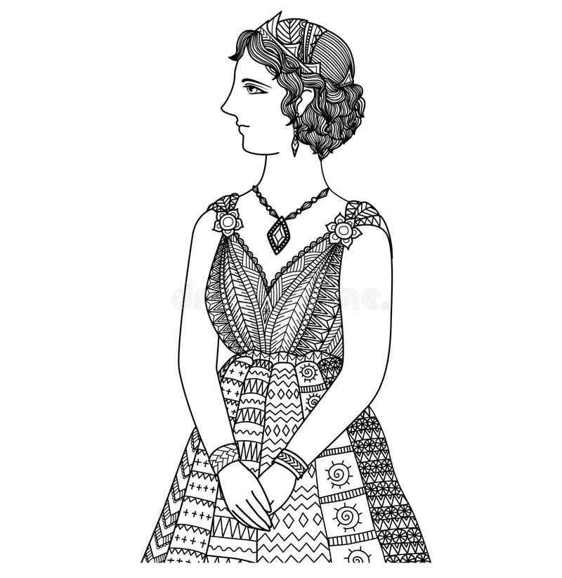 Чистые линии дизайн искусства doodle принцессы Elissa cartage бесплатная иллюстрация