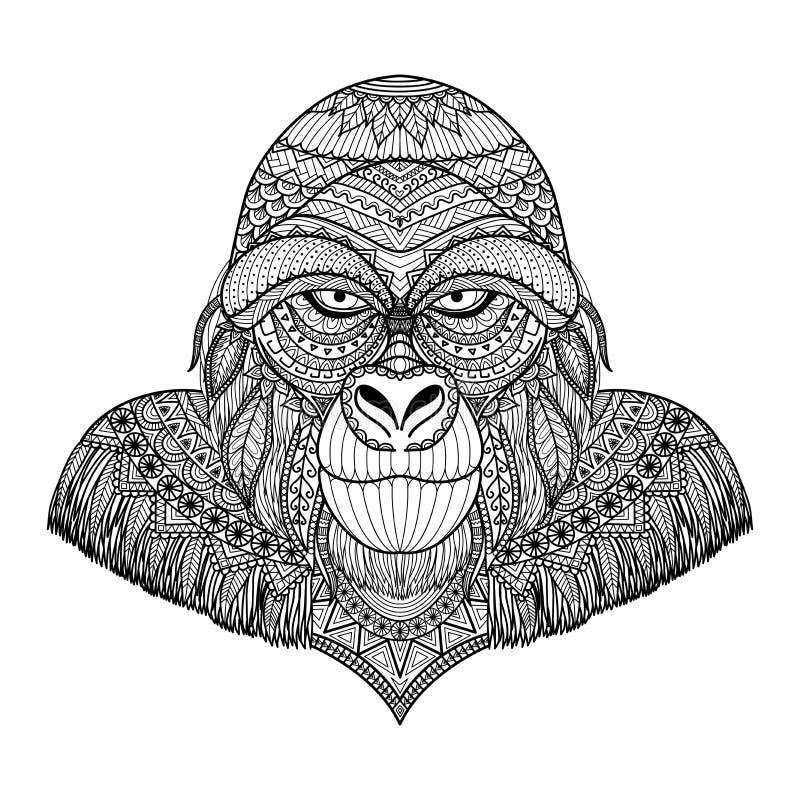 Чистые линии doodle дизайн головы гориллы для взрослых страниц расцветки и графика футболки иллюстрация штока