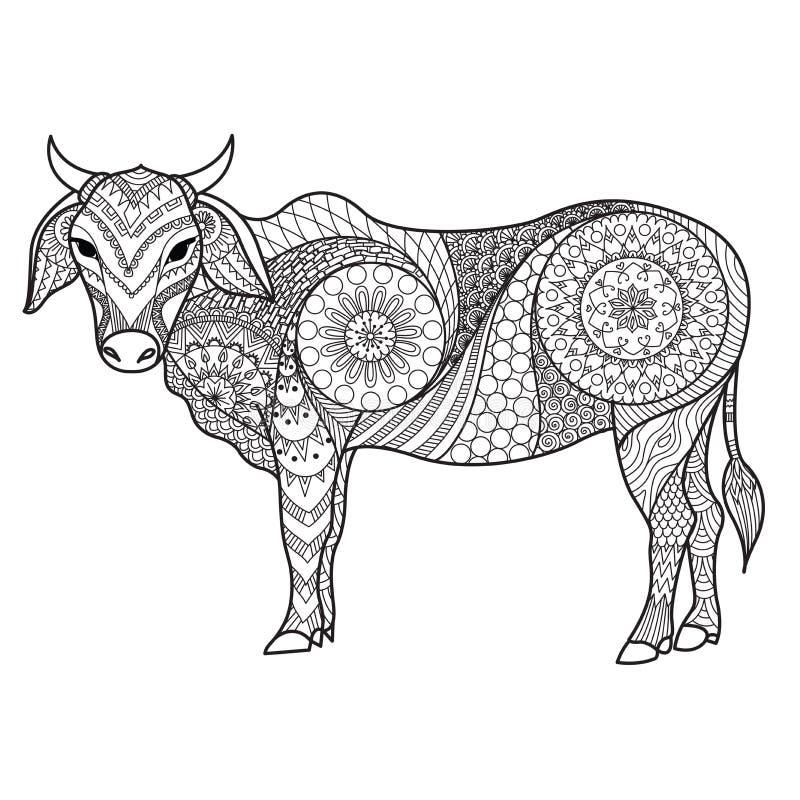 Чистые линии doodle дизайн коровы для взрослой расцветки иллюстрация штока