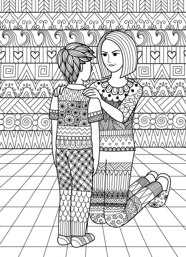 Чистые линии doodle дизайн мамы говоря нет к ее сыну, дизайну для взрослой книжка-раскраски бесплатная иллюстрация