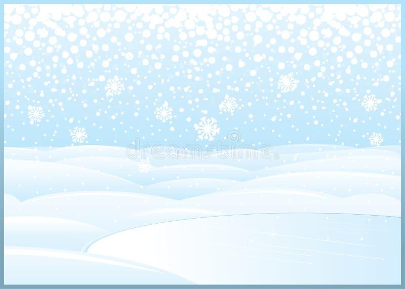 Чистый ландшафт зимы с замороженным озером иллюстрация штока