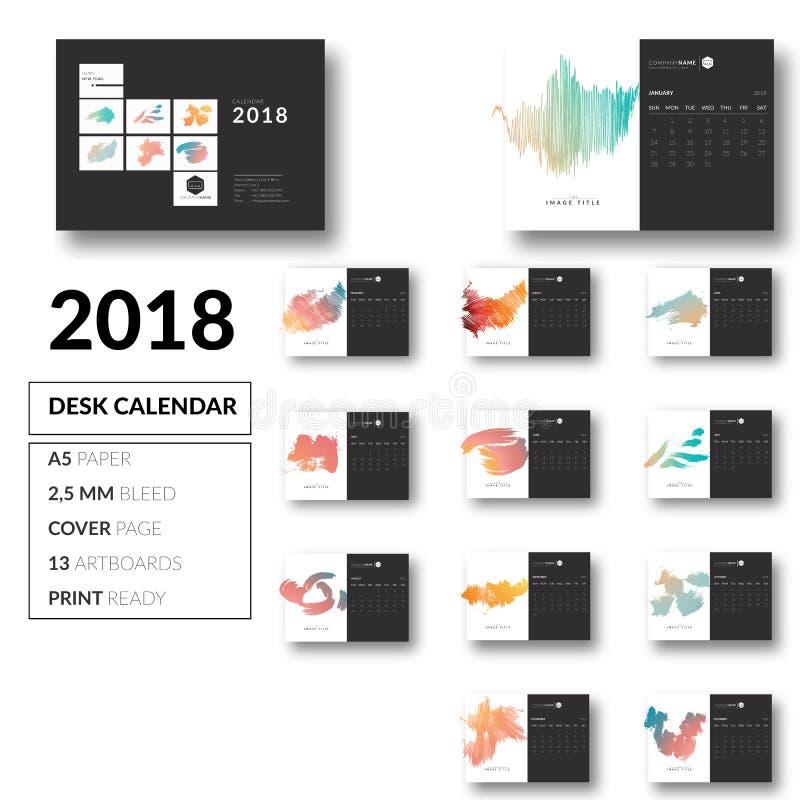 Чистый вектор дизайна 2018 шаблона настольного календаря стоковая фотография rf