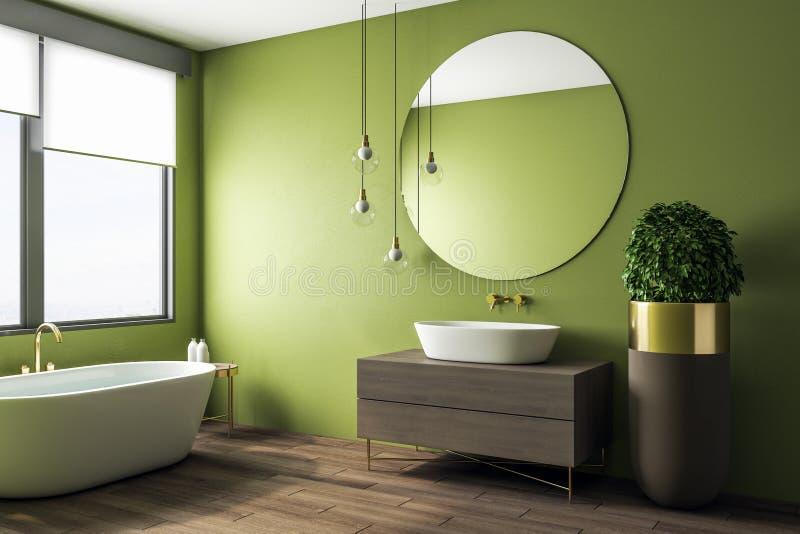 Чистый зеленый интерьер bathroom бесплатная иллюстрация