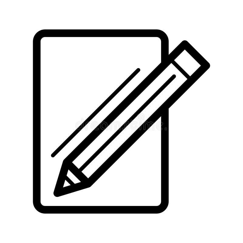 Чистый лист бумаги и значок вектора карандаша Черно-белая иллюстрация блокнота и ручки Значок плана линейный иллюстрация вектора