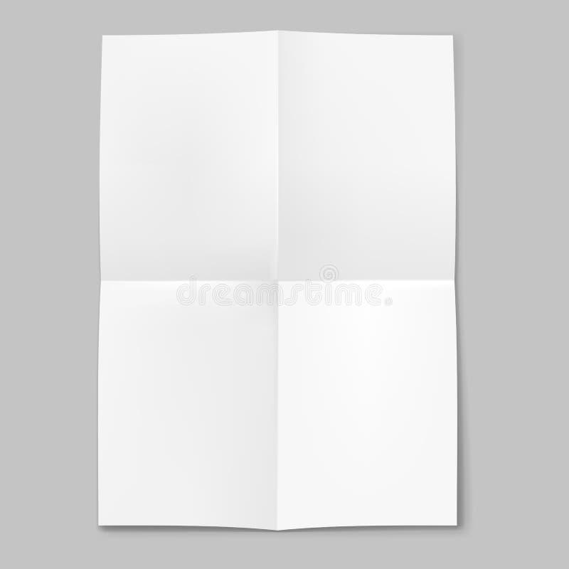 Чистый лист бумаги сложенный в 4 иллюстрация вектора