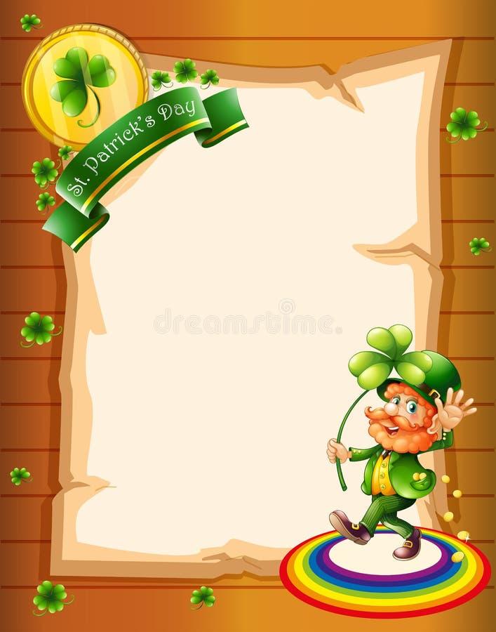 Чистый лист бумаги с приветствием дня St. Patrick и человеком иллюстрация штока