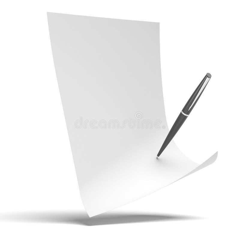Чистый лист бумаги с ручкой иллюстрация вектора