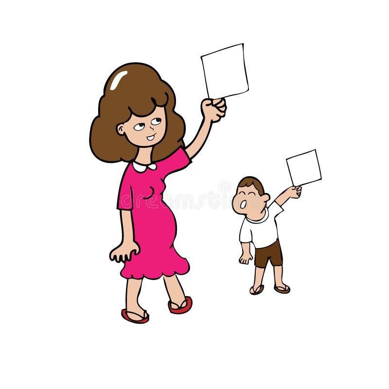 Чистый лист мамы и сына иллюстрация вектора