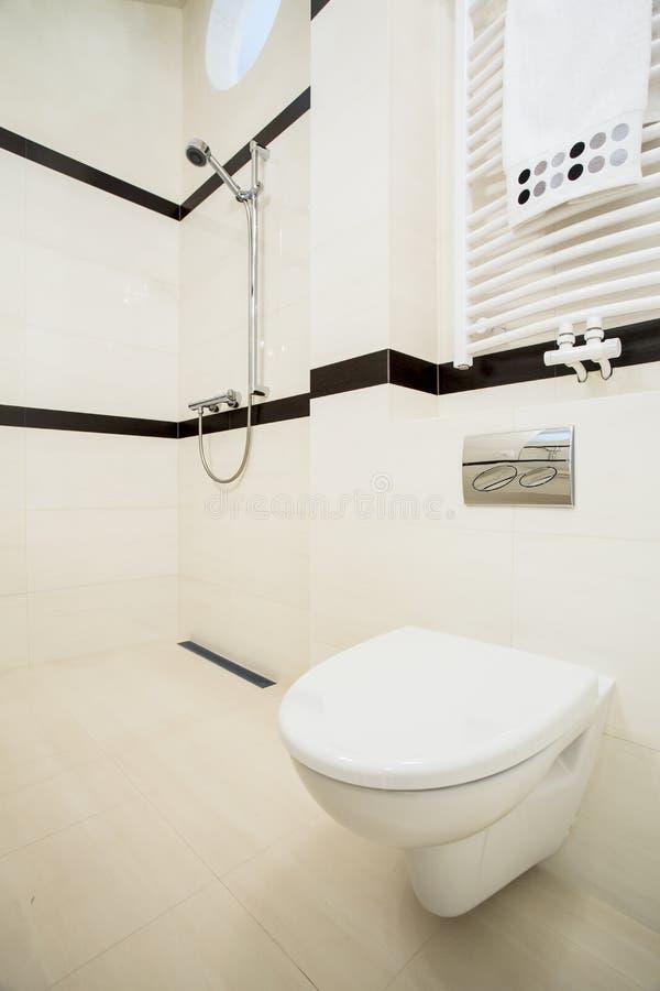 Чистый и свежий интерьер туалета стоковое фото rf