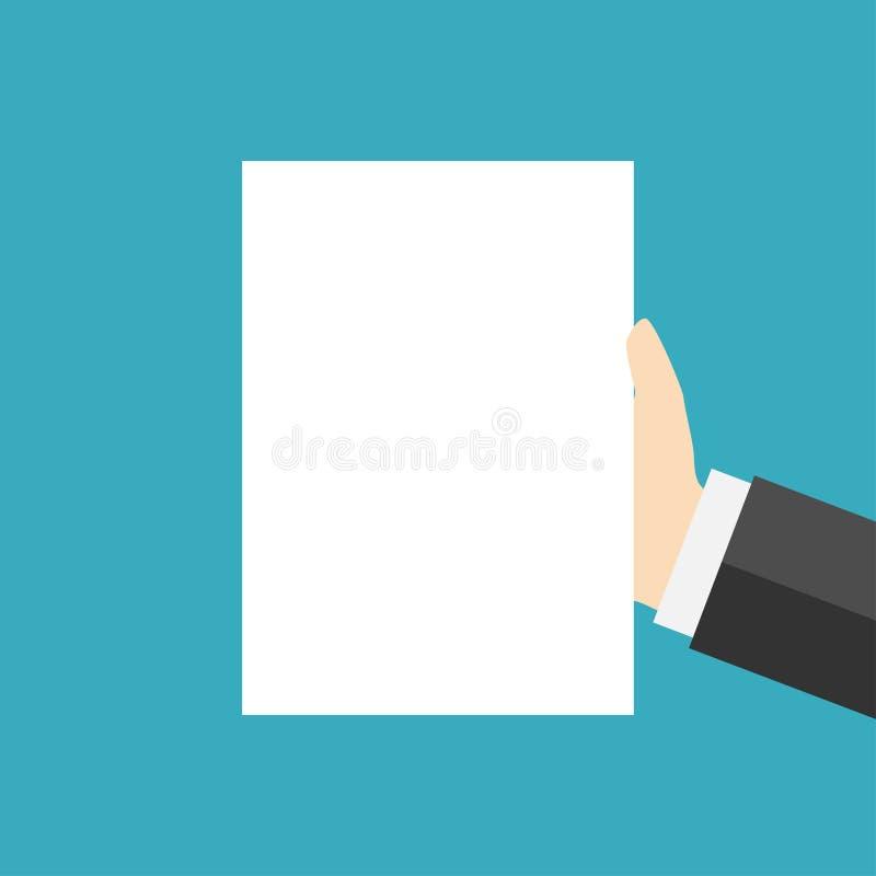 Чистый лист белой бумаги под рукой иллюстрация вектора