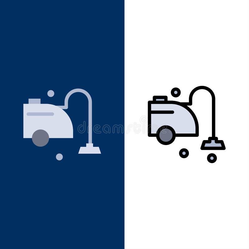 Чистый, уборщик, чистка, значки вакуума Квартира и линия заполненный значок установили предпосылку вектора голубую иллюстрация штока