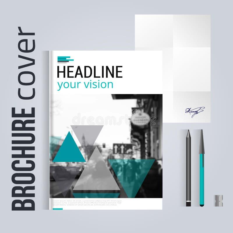 Чистый шаблон крышки брошюры с blured письмом и ручкой ландшафта города вектор шаблона корпоративной тождественности дела произве иллюстрация штока