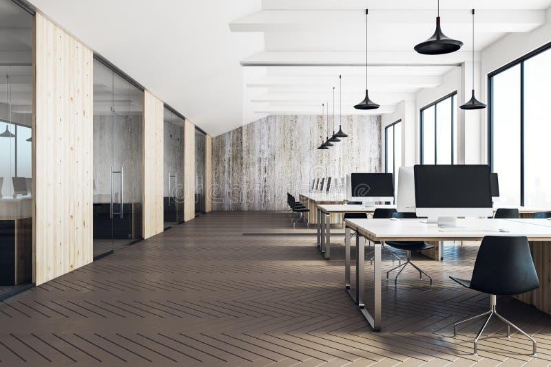 Чистый coworking интерьер офиса иллюстрация штока