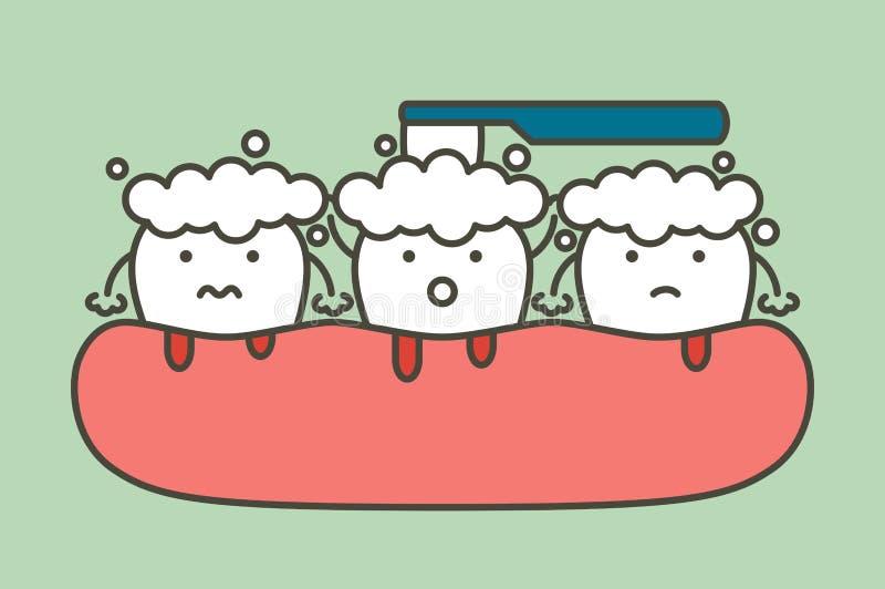 Чистя щеткой зубы с кровотечением на концепции камеди и зуба, воспаления десен или скорбута - стиле зубоврачебного вектора шаржа  бесплатная иллюстрация