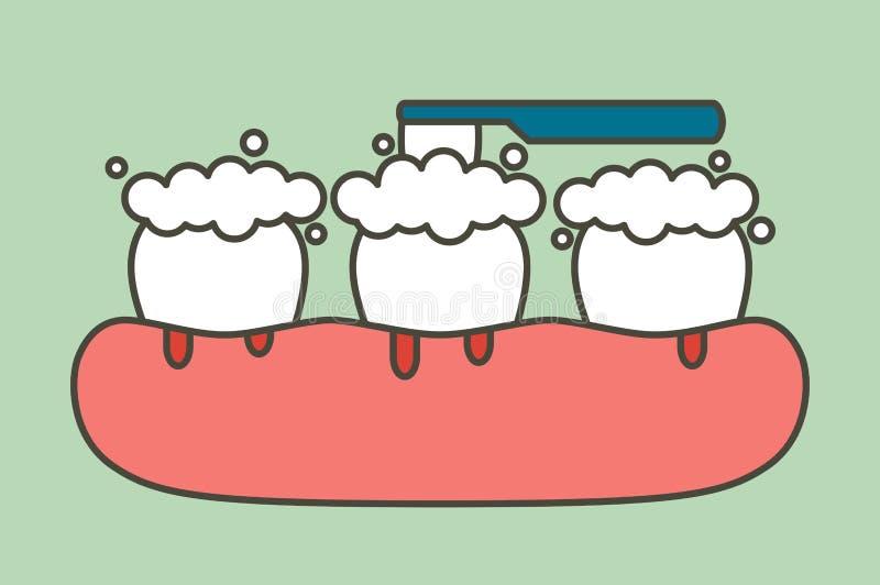 Чистя щеткой зубы с кровотечением на концепции камеди и зуба, воспаления десен или скорбута иллюстрация штока
