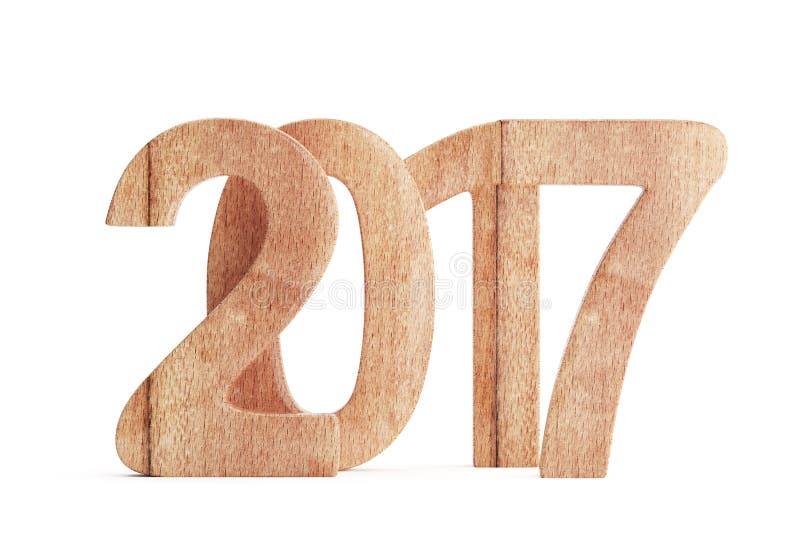 Числа 2017 Новых Годов деревянные иллюстрация вектора