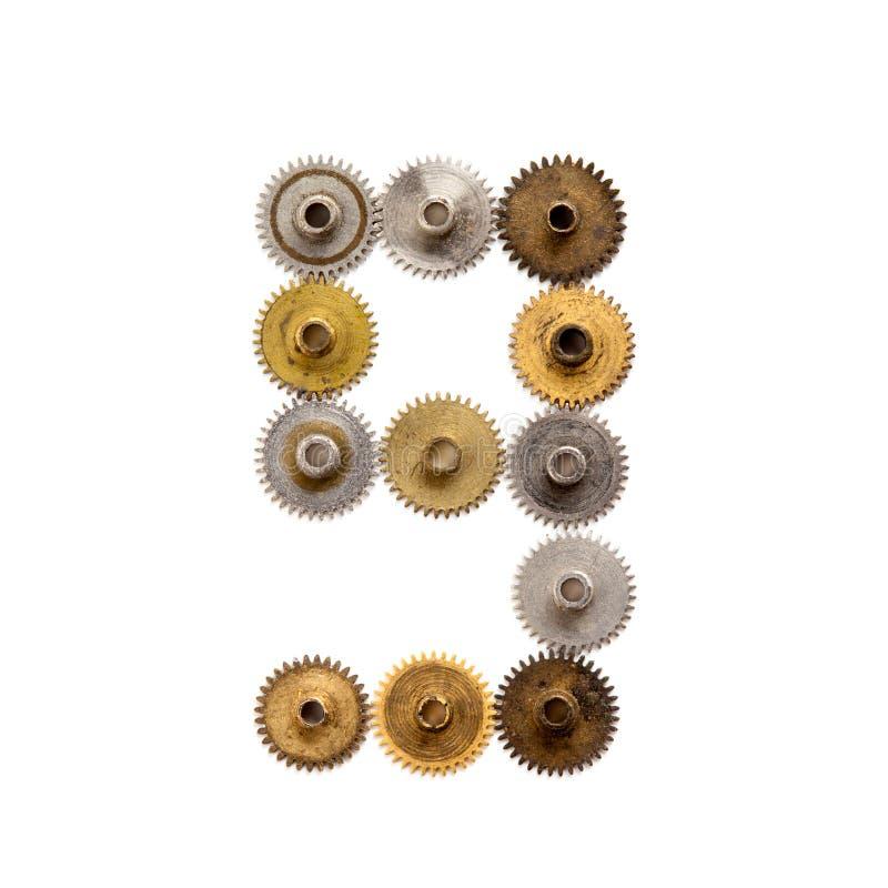 Число 9 дизайна собрания шестерней cogs Steampunk механически Винтажным ржавым затрапезным промышленное текстурированное металлом стоковые изображения