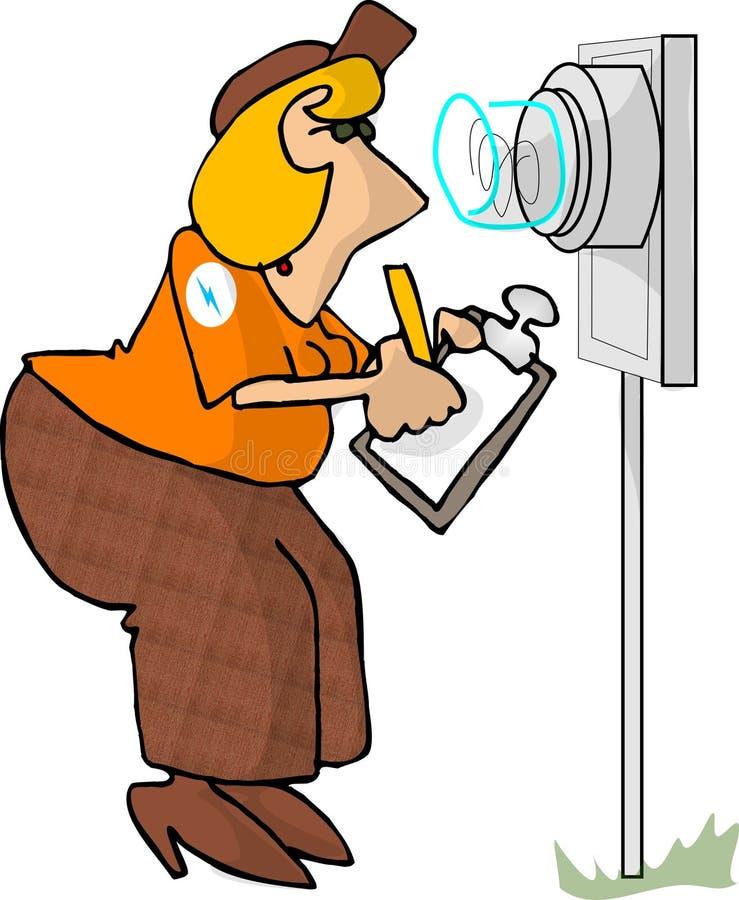 читатель электрического счетчика иллюстрация вектора