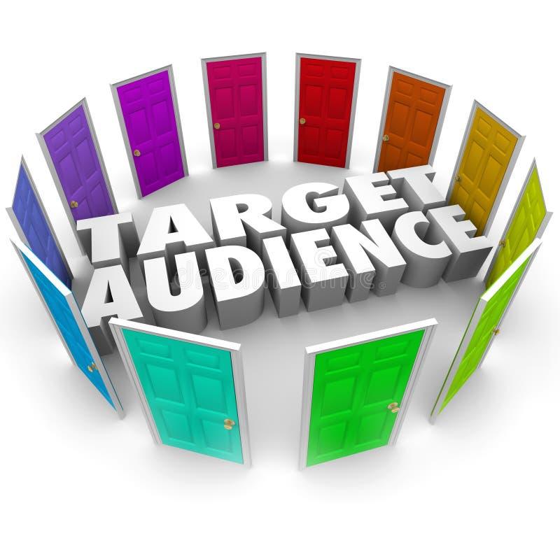 Читатели клиентов дверей потенциальной аудитории растут ваше дело иллюстрация вектора