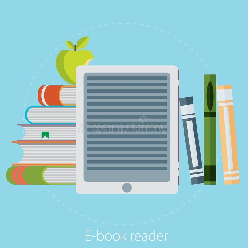 Читатель EBook и современное образование технологией - vector flatst иллюстрация штока