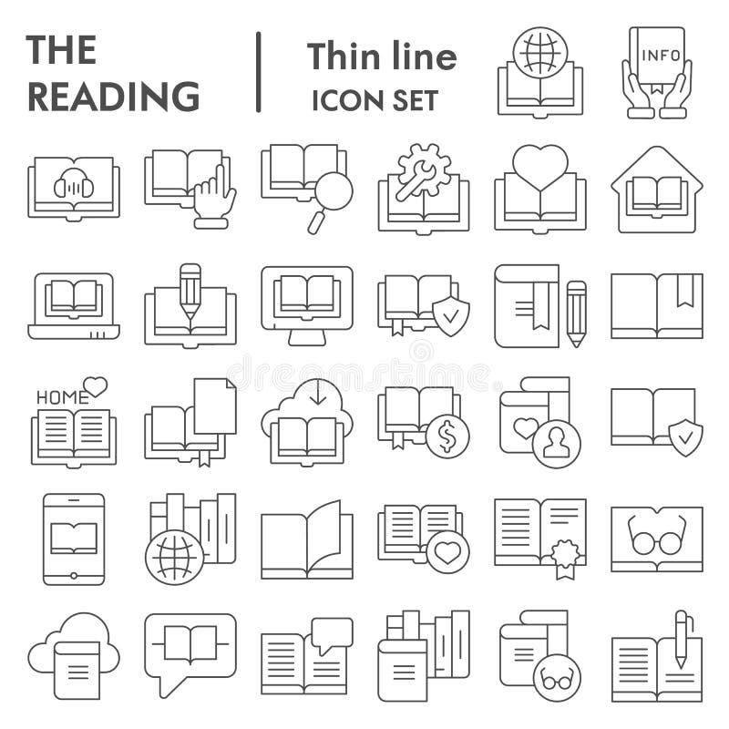 Читающ тонкую линию набор значка, символы собрание книг, эскизы вектора, иллюстрации логотипа, знаки образования линейные бесплатная иллюстрация