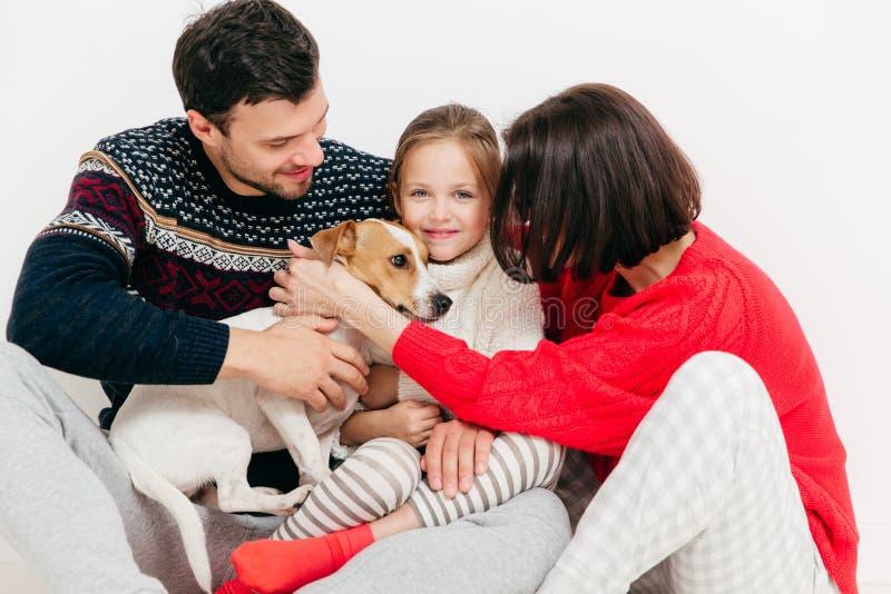 3 члена семьи купили родословную поднимают собаку домкратом терьера Рассела, h стоковые изображения