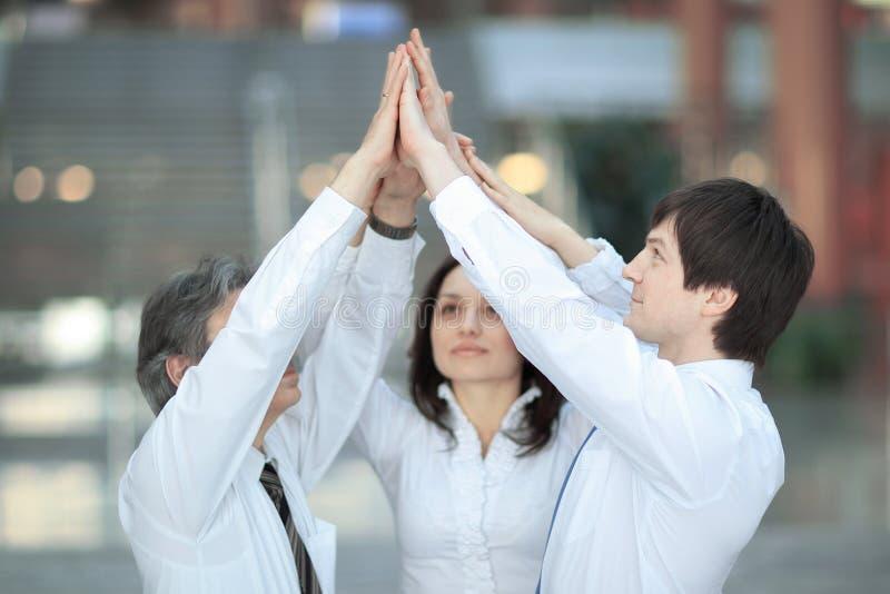 Члены дела объединяются в команду дающ одину другого высоко--5, положение в офисе стоковые изображения rf