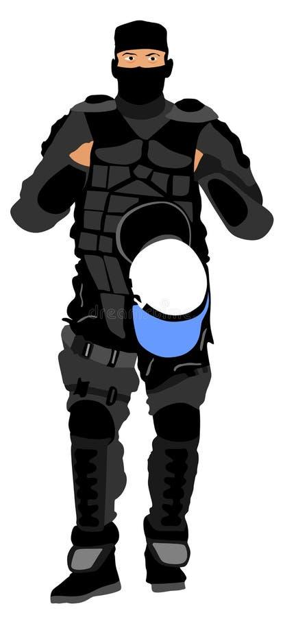 Член полиции сил специального назначения Жандарм, анти- блок терроризма Солдат сокрушая демонстрации иллюстрация штока