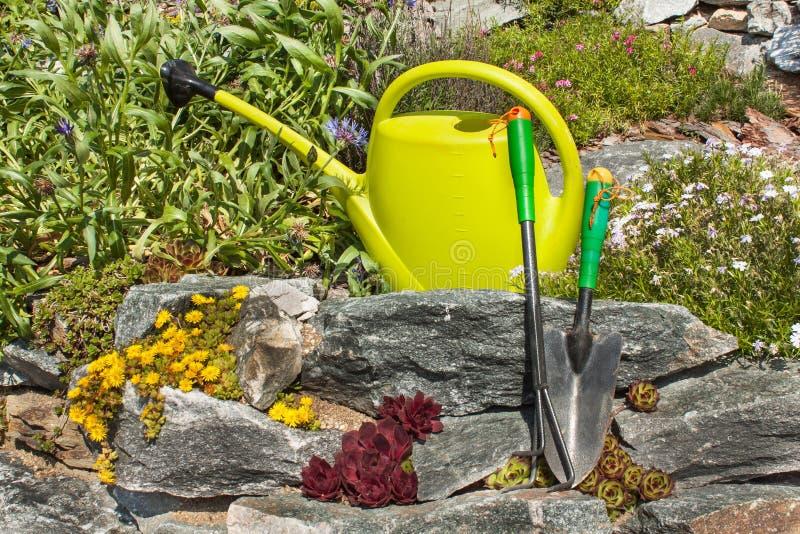 Чонсервная банка пластичного сада моча на зацветая rockery садовничая инструменты Орнаментальный сад стоковые фотографии rf