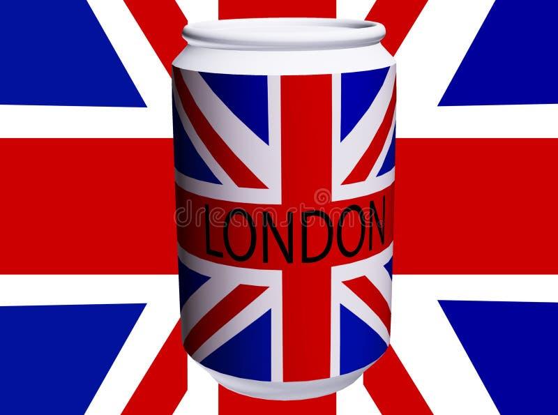 Чонсервная банка флага Великобритании иллюстрация штока