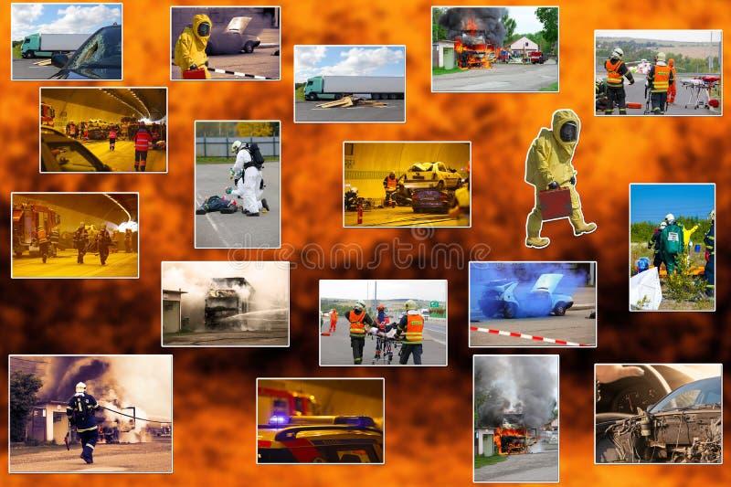 Чрезвычайное обслуживани и спасательная команда пожарного стоковое изображение