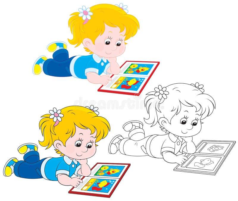 Чтение девушки иллюстрация вектора