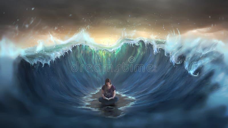 Чтение женщины и окруженный волнами стоковая фотография rf