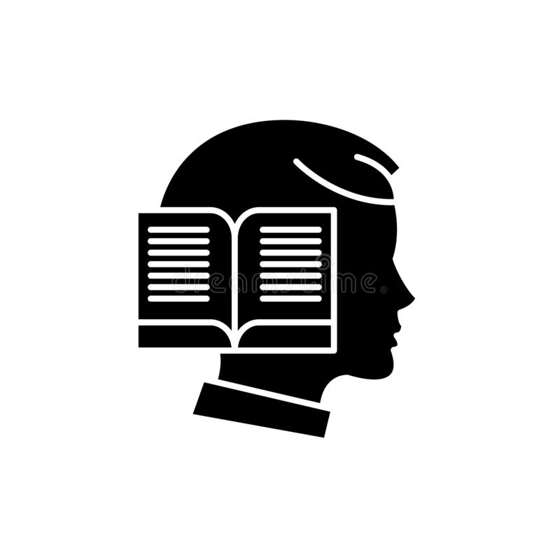 Чтение значка времени черного, знак вектора на изолированной предпосылке Чтение символа концепции времени, иллюстрация иллюстрация вектора