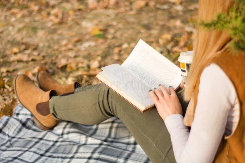 Чтение и удерживание женщины записывают на ногах на ретро одеяле стоковые изображения rf