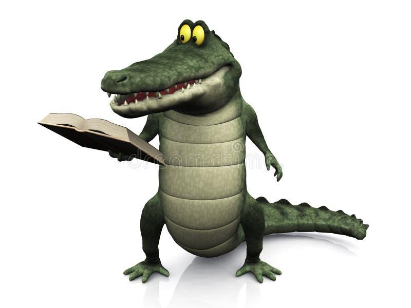 чтение крокодила шаржа книги иллюстрация вектора