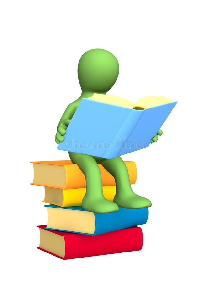 чтение марионетки книги 3d иллюстрация вектора