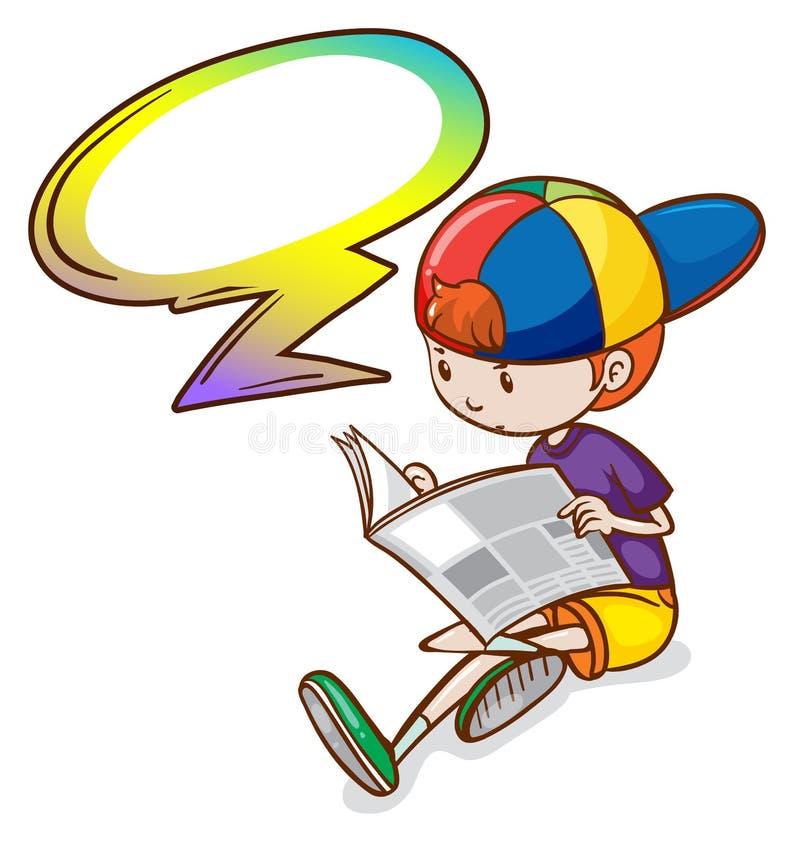 Чтение мальчика с пустым callout иллюстрация вектора