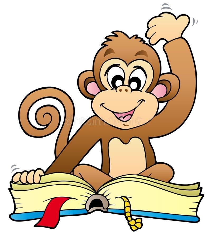 чтение обезьяны книги милое иллюстрация штока